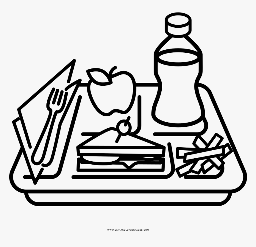 Food Tray Coloring Page Clipart Png Download Lunch Tray Clipart Black And White Transparent Png Kindpng