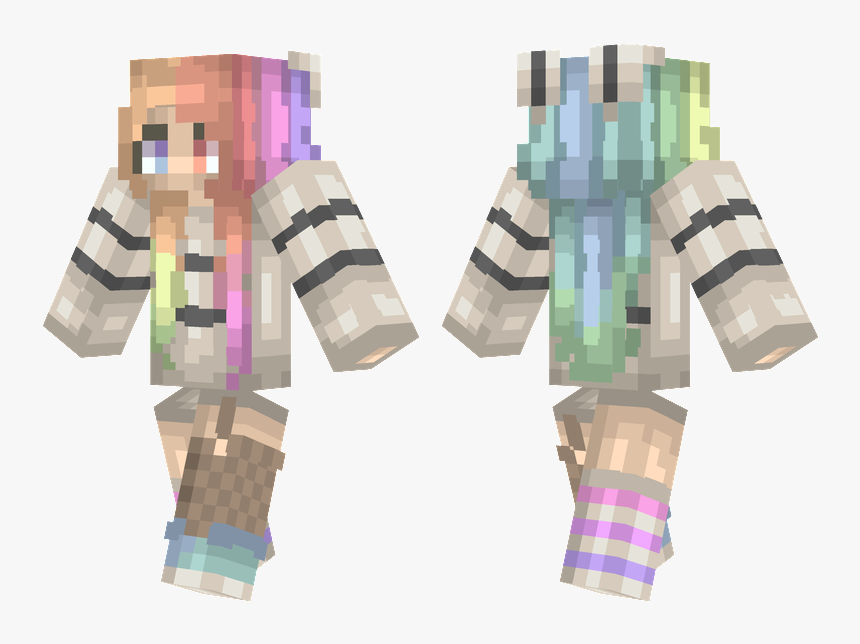 Minecraft Girl Skin With Rainbow Hair, HD Png Download, Free Download