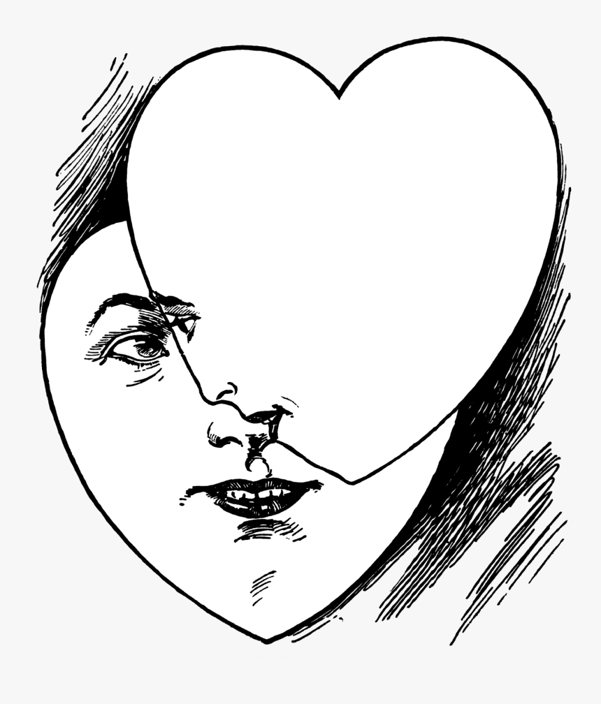 Vintage Heart Faces Illustration Public Domain Vintage - Weird Clipart Black And White, HD Png Download, Free Download