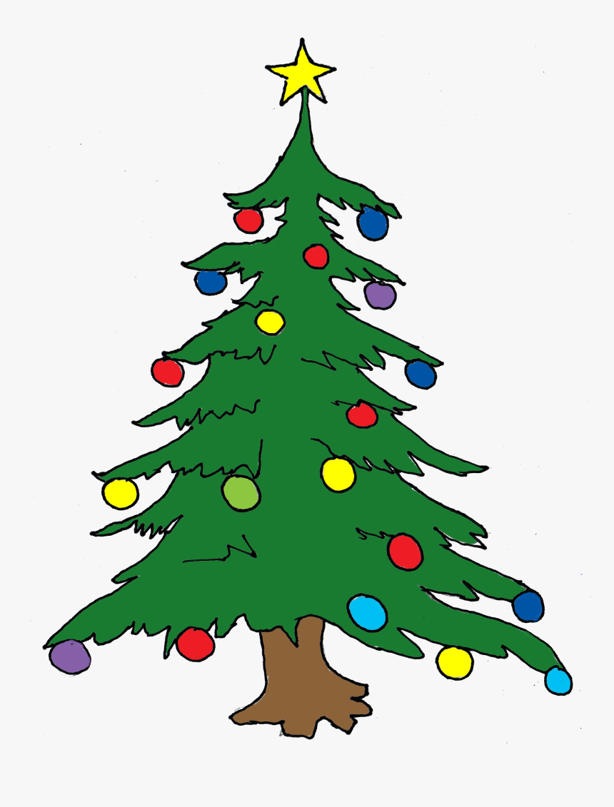 Clipart Of Santa, Oregon And Mas - Christmas Tree In Drawing, HD Png Download, Free Download