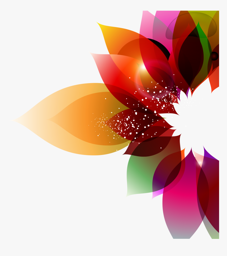 Color Flower Abstract Art Floral Design Colorful Background - Colorful Flower Vector Png, Transparent Png, Free Download