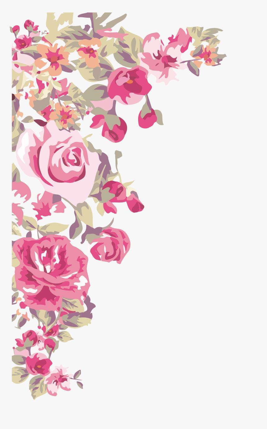 Flower Wallpaper Painted Transprent - Flower Corner Border Png, Transparent Png, Free Download