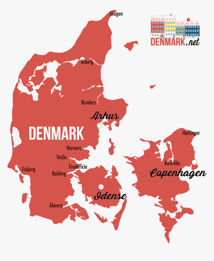 Detailed Map Geography Denmark - Denmark Map Vector, HD Png Download, Free Download