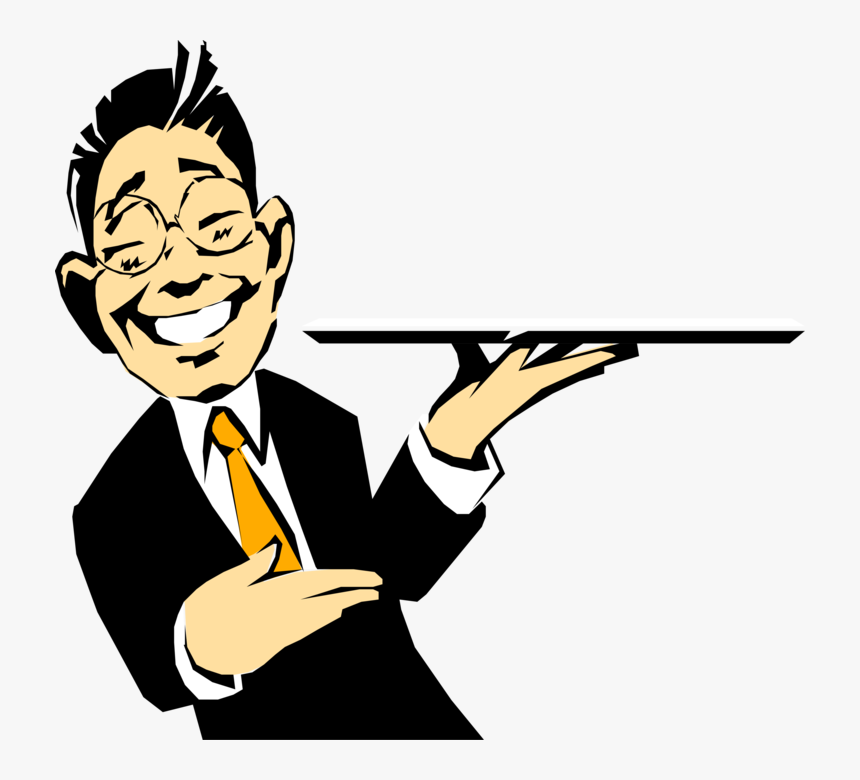 Waiter Vector Image Illustration - Waiter With Tray Cartoon, HD Png Download, Free Download