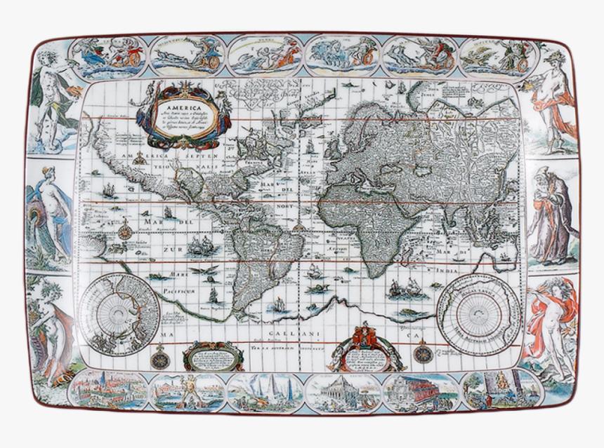 Blaeu Mercator Map Rectagular Tray, Large - World Map, HD Png Download, Free Download