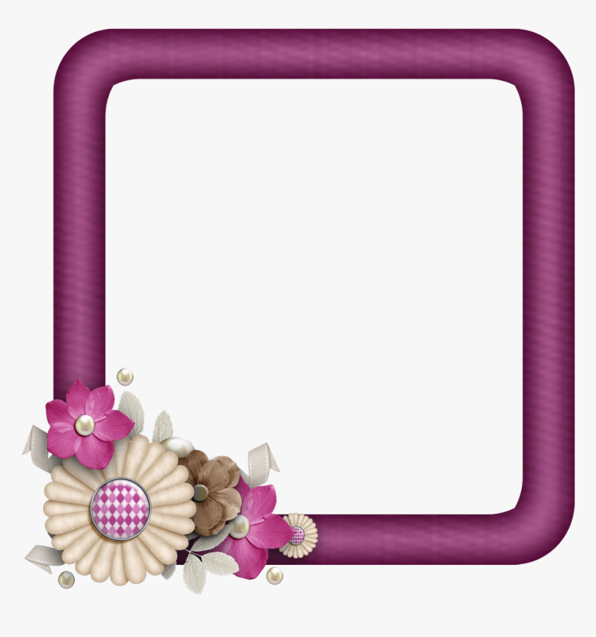 #scrapbook #paper #flowers #photo #flower #ribbon #bird - Picture Frame, HD Png Download, Free Download