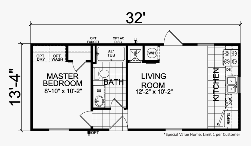 Thrifty - Two Bedroom Single Wide Mobile Home Floor Plans ...