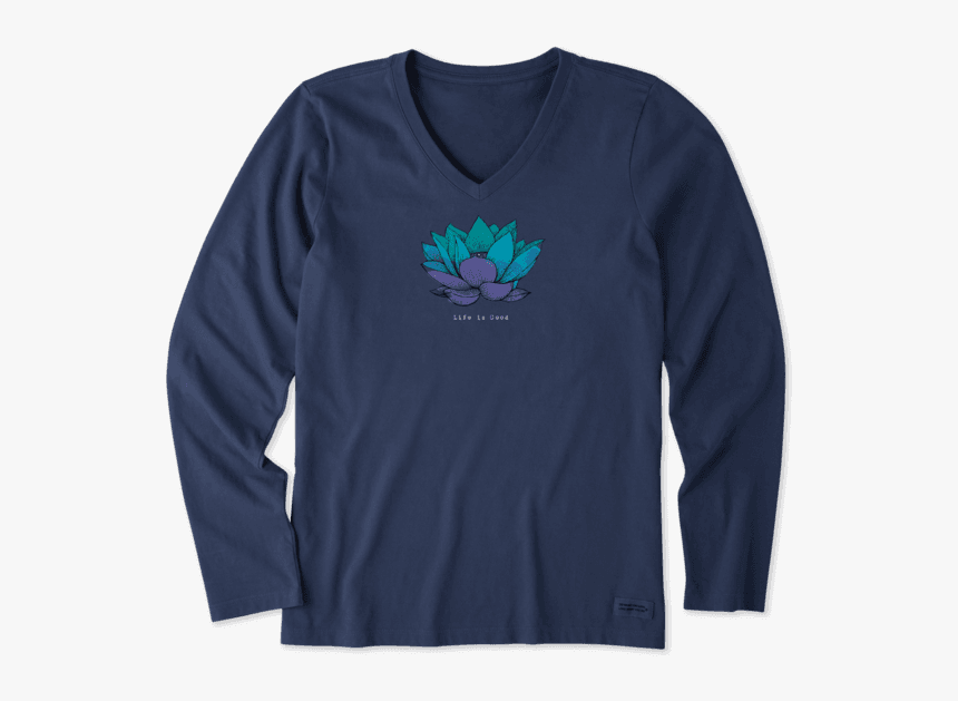 """Women""""s Lotus Flower Engraved Long Sleeve Crusher Vee - Womens Thanksgiving Shirts Funny, HD Png Download, Free Download"""