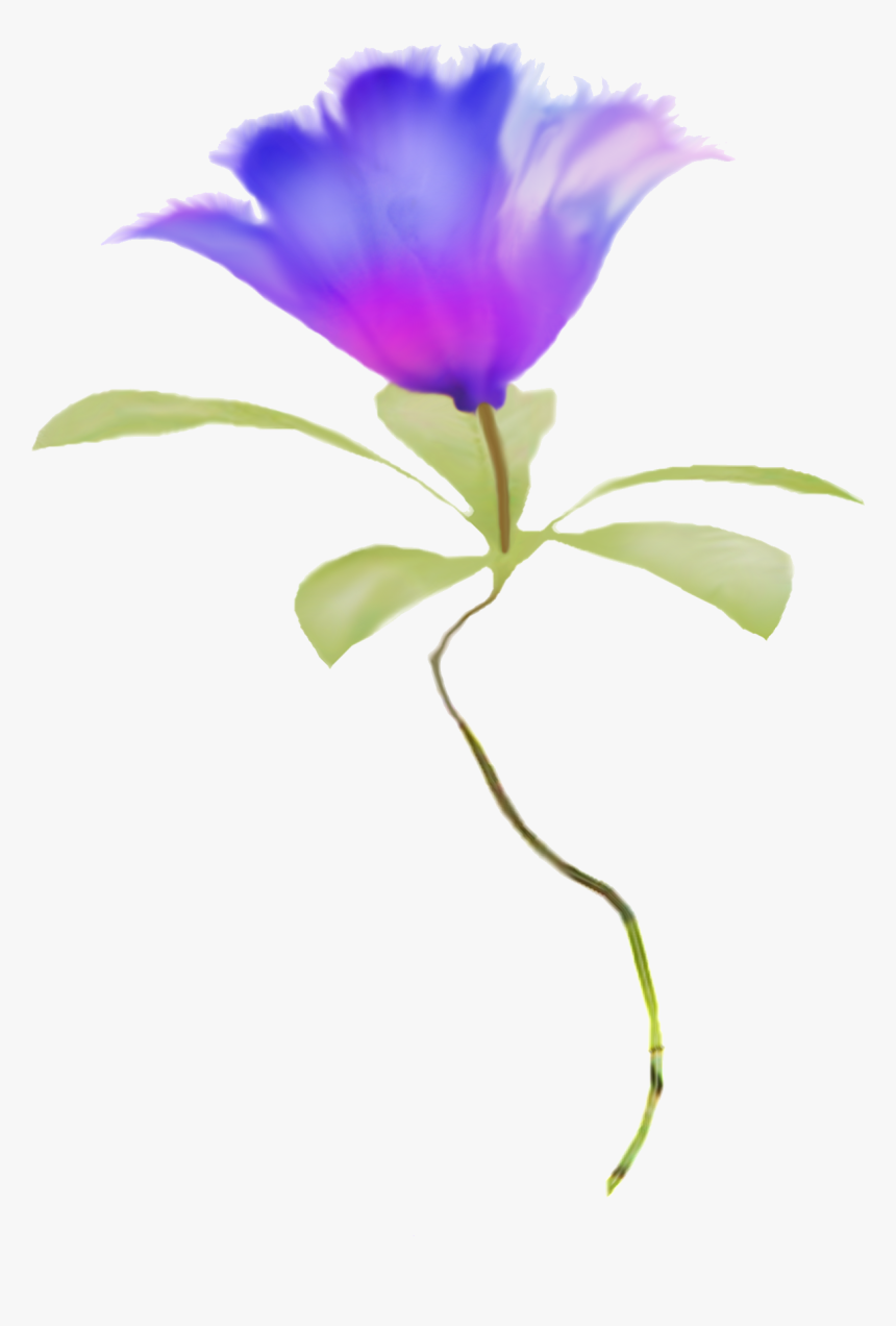Blue Flower Clipart Real Pencil And In Color Blue Flower - Watercolor Flower Purple Blue Flowers Png, Transparent Png, Free Download