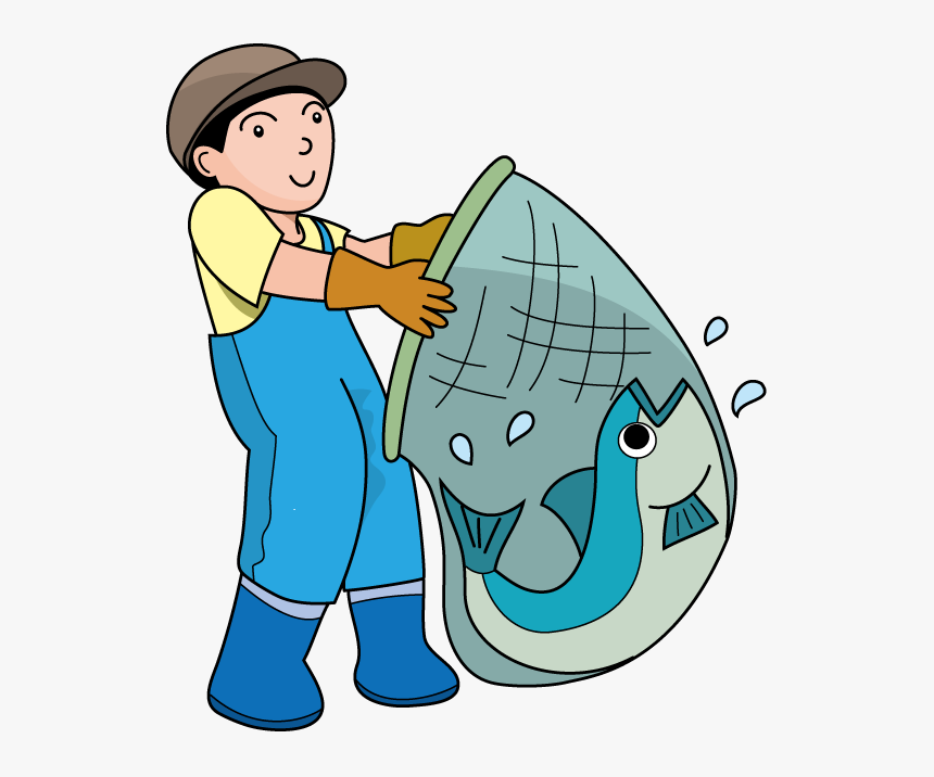 Fisherman Net Clipart - Fisherman With Net Clipart, HD Png Download, Free Download