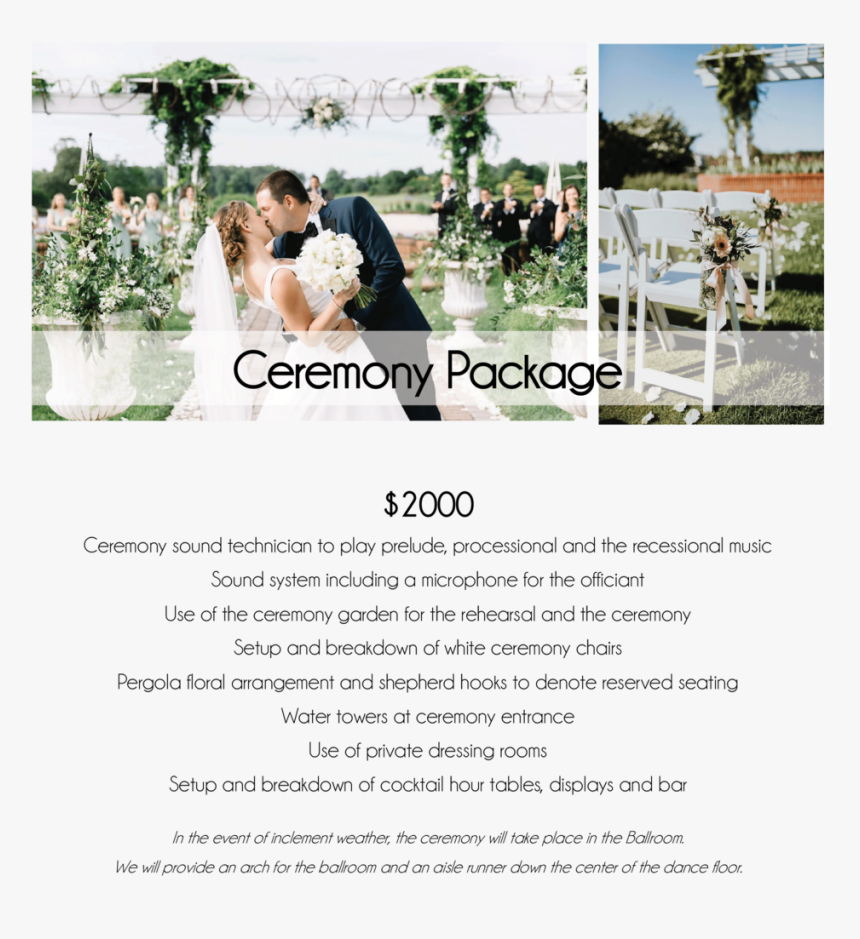 Baywood Weddings Wedding Packages 2020 05 - Wedding Reception, HD Png Download, Free Download