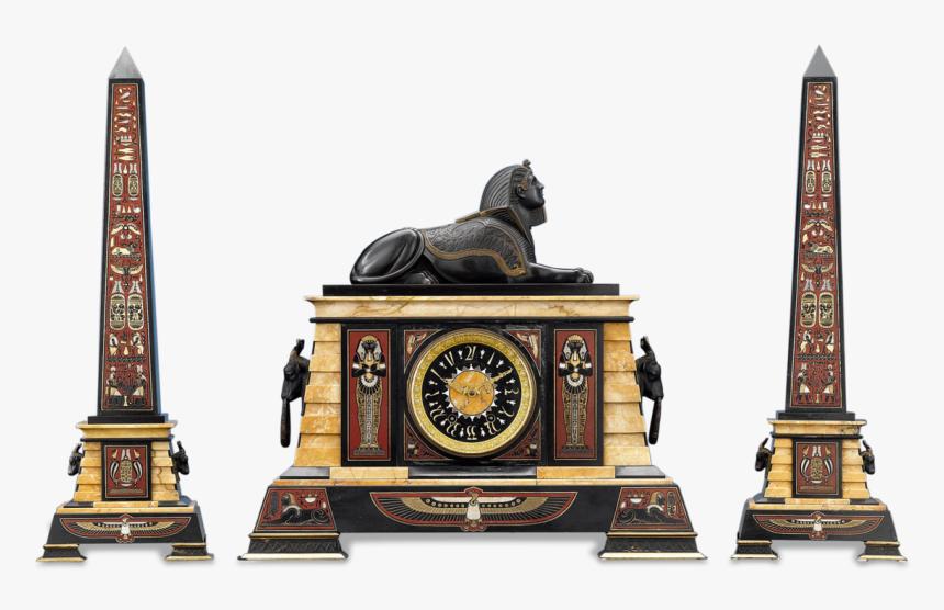 Egyptian Revival Clock Garniture - Clock Tower, HD Png Download, Free Download