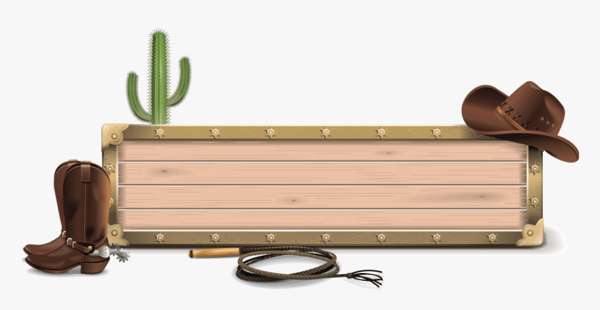 Wooden Border Graphic With Cowboy Hat, Boots, Bullwhip - Cowboy Hat And Boots Border, HD Png Download, Free Download