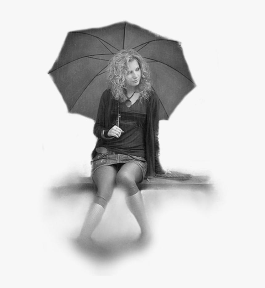 #girl #sitting #umbrella #women #grey - Girl Sitting Png With Umbrella, Transparent Png, Free Download