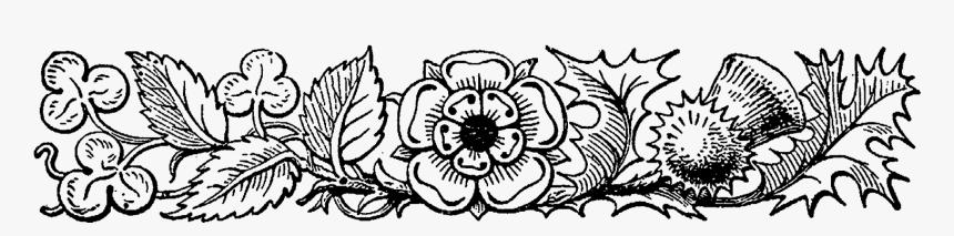 Transparent Decorative Border Png - Flower Border In Line Art, Png Download, Free Download