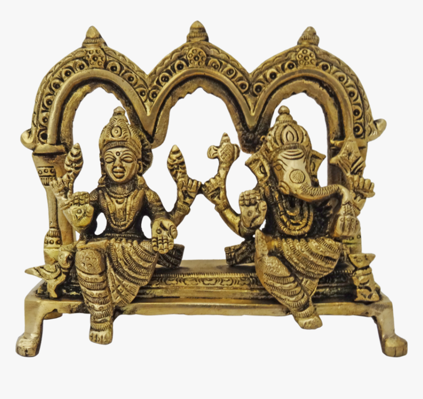 Brass Lord Ganesha Sitting With Goddess Lakshmi Arch, HD Png Download, Free Download