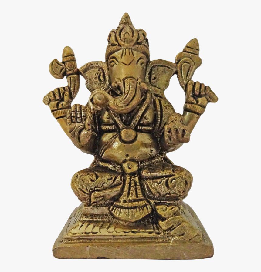 Brass Valamburi Vinayagar Statue, 3 X 4 Inch, Vgo Cart,3x4inch,handmade - Bronze Sculpture, HD Png Download, Free Download