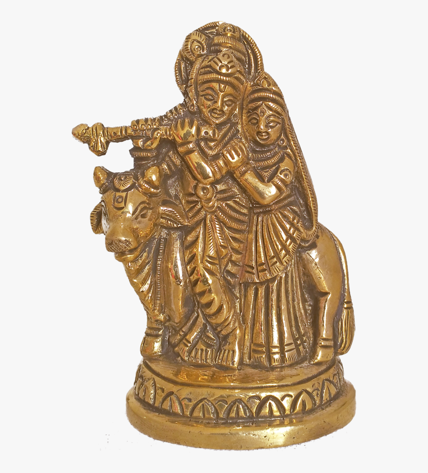 Brass Idol Of Radha Krishna Playing Flute With Cow, - Bronze Sculpture, HD Png Download, Free Download