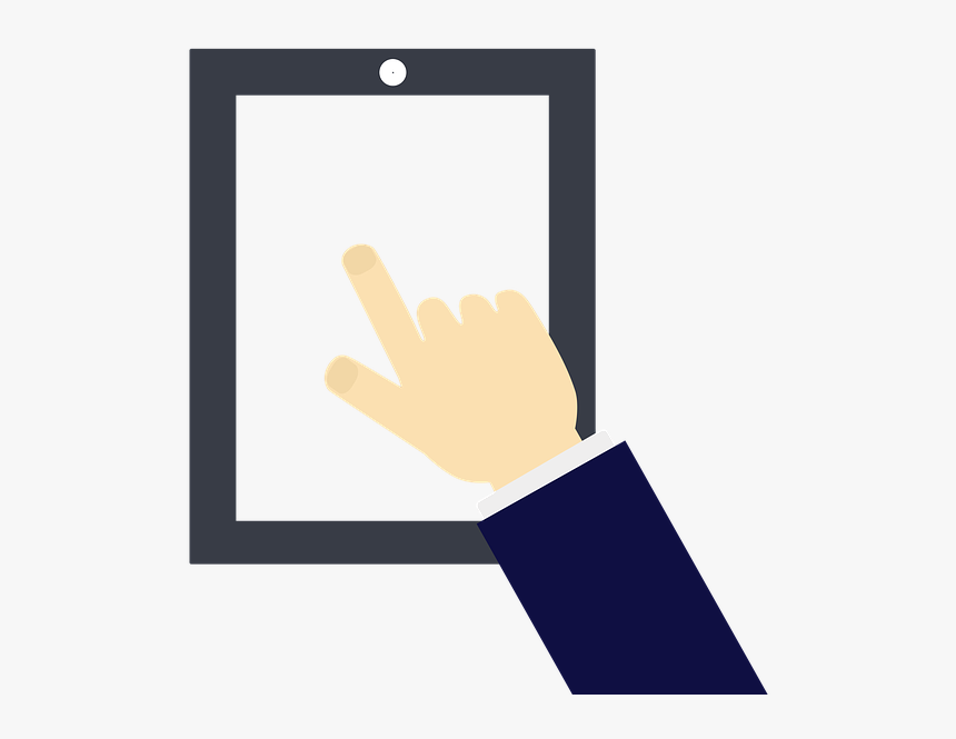 Tablet, Hand, Man, Cartoon, Touch, Communication - Sign, HD Png Download, Free Download