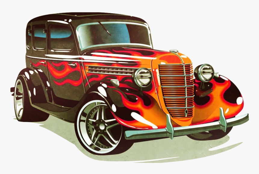 Classic Car Rod Sports Hot Cars Clipart - Hot Rod Old School Cars, HD Png Download, Free Download