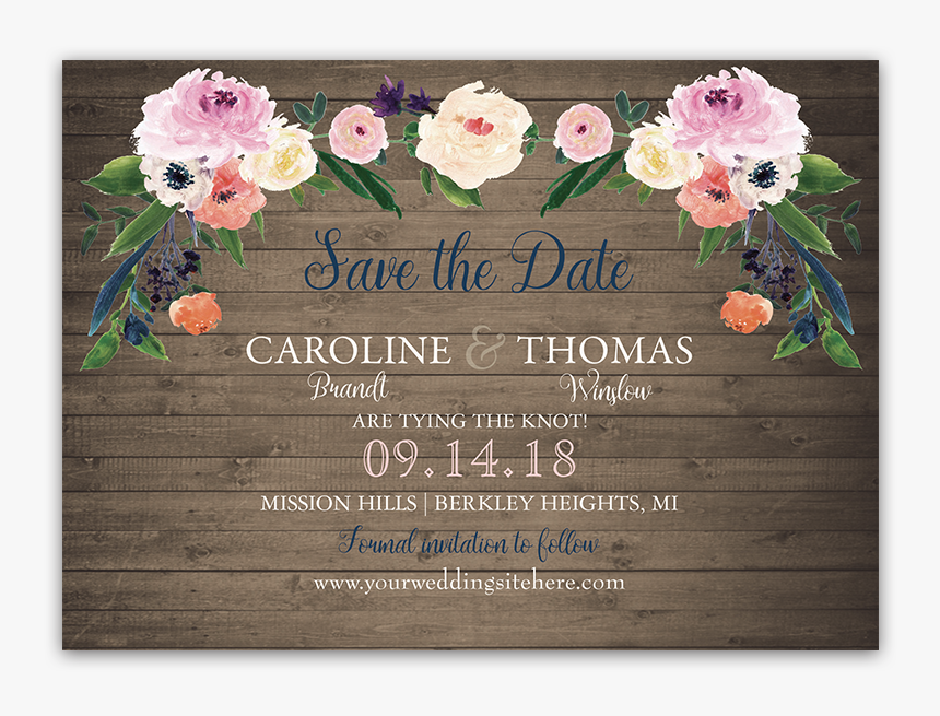 Watercolor Flowers Wedding Save The Date Cards - Floral Design, HD Png Download, Free Download