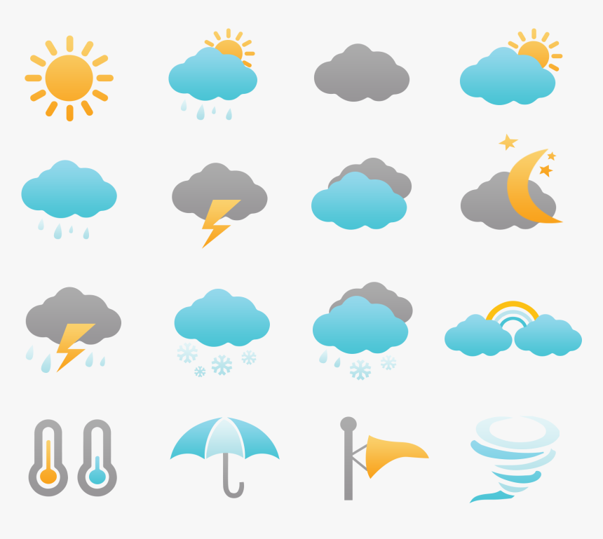 Weather Icons Set Free Clipart , Png Download - Transparent Weather Icons Png, Png Download, Free Download