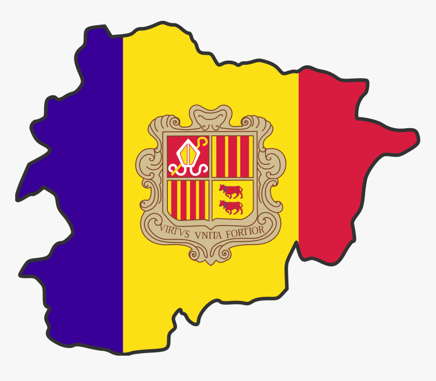 Andorra Flag Map Large Map - Smallest Countries In The World Flags, HD Png Download, Free Download