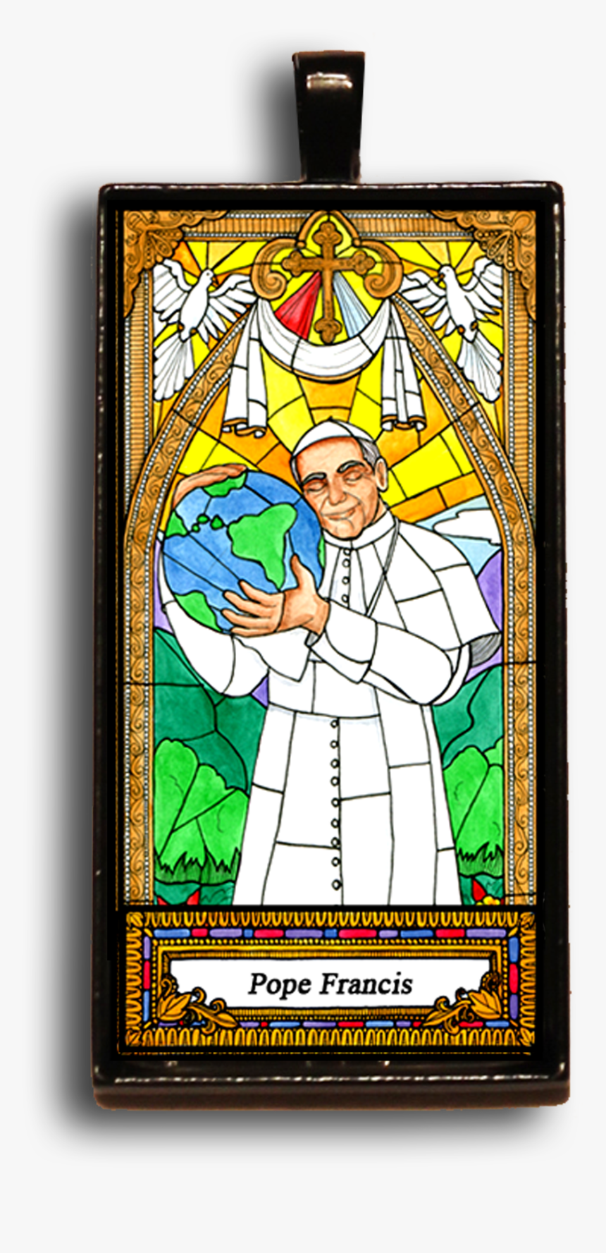 Pope Francis Bag Booster Or Necklace - Stained Glass, HD Png Download, Free Download