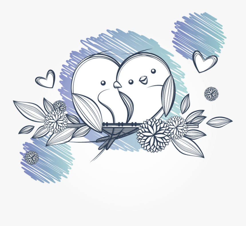 Transparent Bird Drawing Png Sketch Love Birds Drawing Png Download Kindpng
