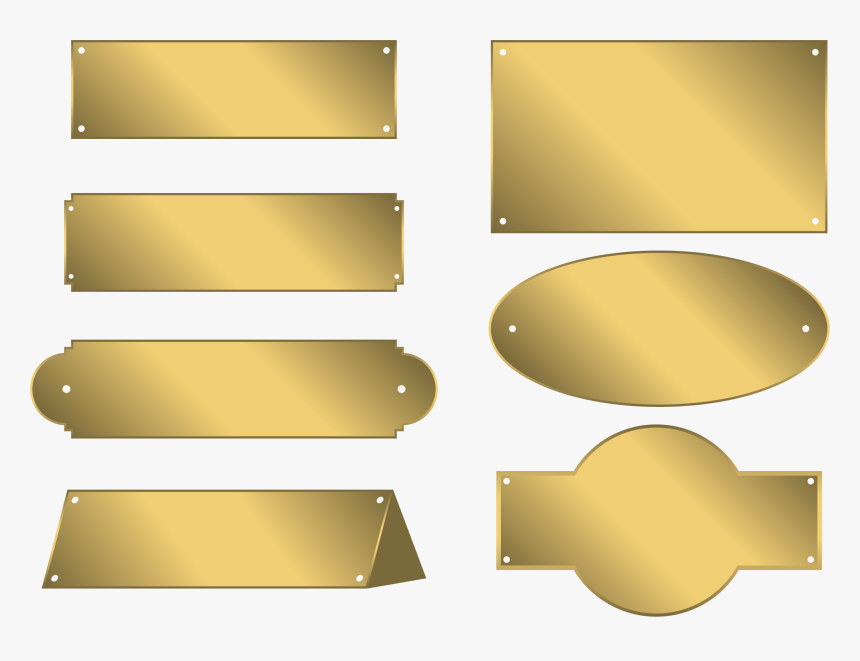 Metal Plates Tags Bronze - Gold Border For Name Png, Transparent Png, Free Download