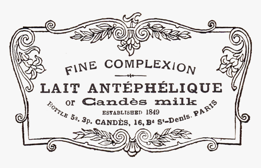 Antique French Advertisement In Fancy Scrolled Frame - Transparent Fancy Borders Png, Png Download, Free Download