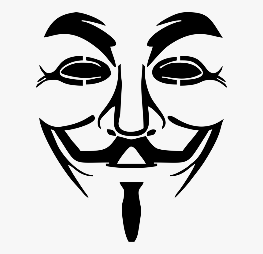 Line Art,head,art - Guy Fawkes Mask, HD Png Download, Free Download