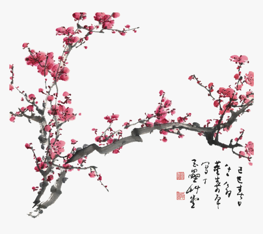 Chinese Cherry Blossom Png , Png Download - Plum Blossom Japanese Painting, Transparent Png, Free Download