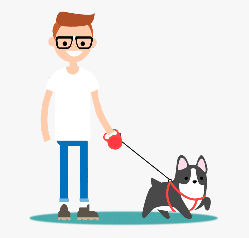 How Long Should You Walk Your Dog Every Day - Cartoon Dog Walker Dog Walking, HD Png Download, Free Download