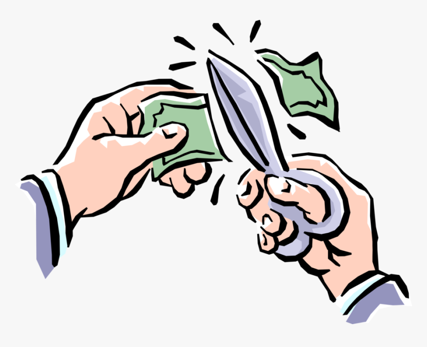 Vector Illustration Of Hands Cutting Dollar Bill Money - Cutting Money Cartoon, HD Png Download, Free Download