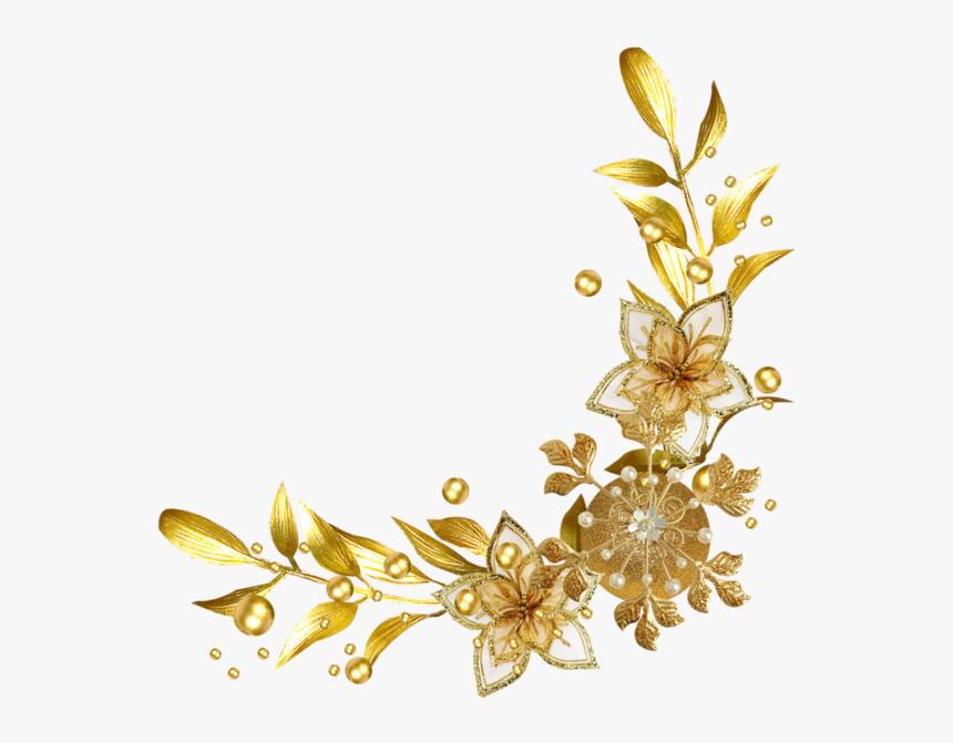 Gold Flower Frame Png, Transparent Png, Free Download