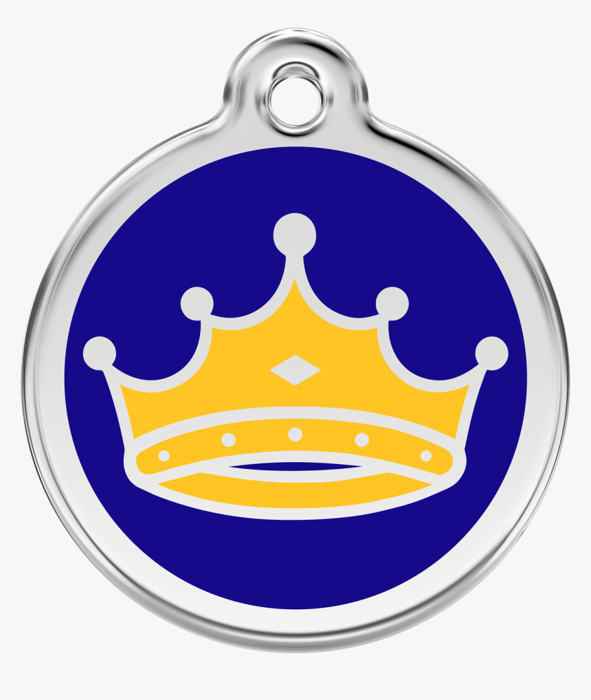 Crown King Prince Dog Id Tag, Blue & Yellow Enameling, - King Tag, HD Png Download, Free Download