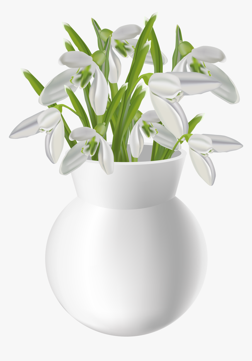 Vase With Snowdrops Transparent Png Clip Art Image - Table Flower Pot Png, Png Download, Free Download