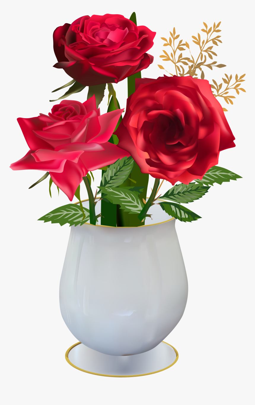 Beautiful Roses, Red Roses, Clip Art, Vase, Creations, - Red Flower Vase Png, Transparent Png ...