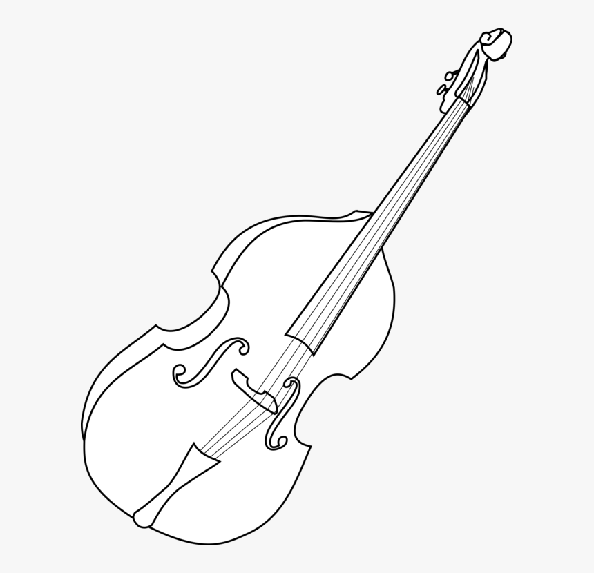 Line Art,viol,string Instrument - Double Bass Instrument Drawing, HD Png Download, Free Download