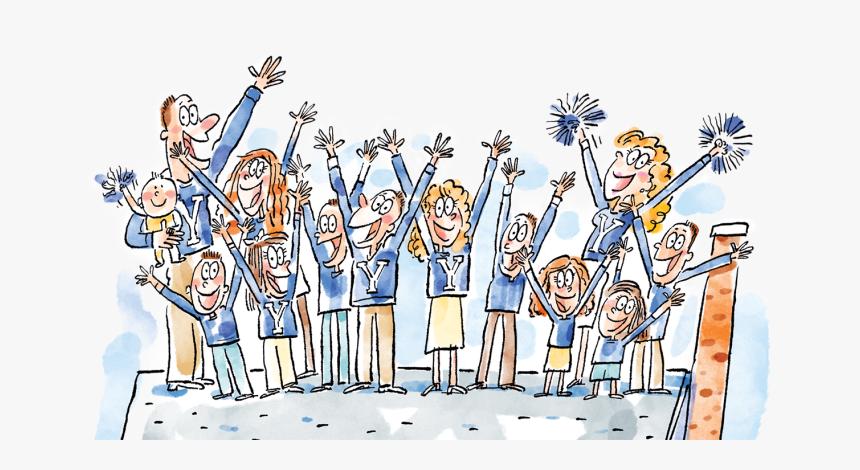 Cheering Family Cartoon Hd Png Download Kindpng