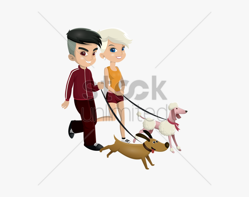 Transparent Girl Walking Clipart - Boy And Girl Walking Dogs, HD Png Download, Free Download