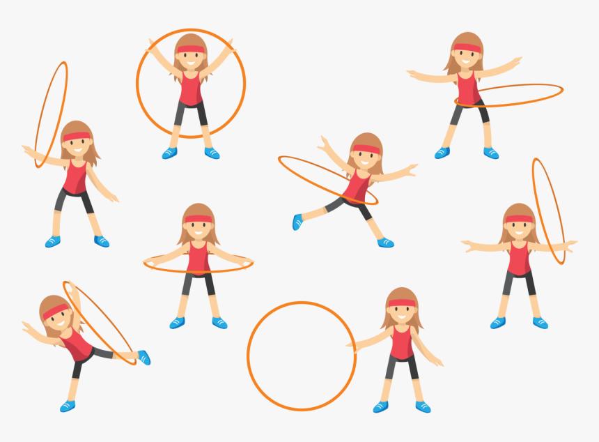Hula Hoops Art Clip Art - Girl Hula Hoop Clip Art, HD Png Download, Free Download