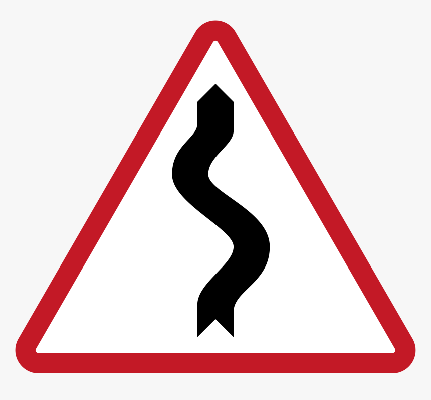 Transparent Curvy Road Clipart - Road Sign Winding Road, HD Png Download, Free Download