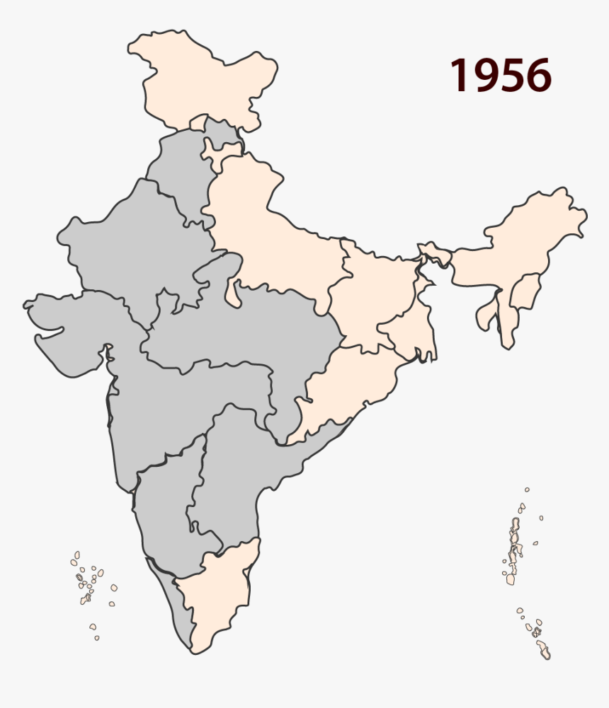States Across India Are Reorganised - India Map In 1956, HD Png Download, Free Download