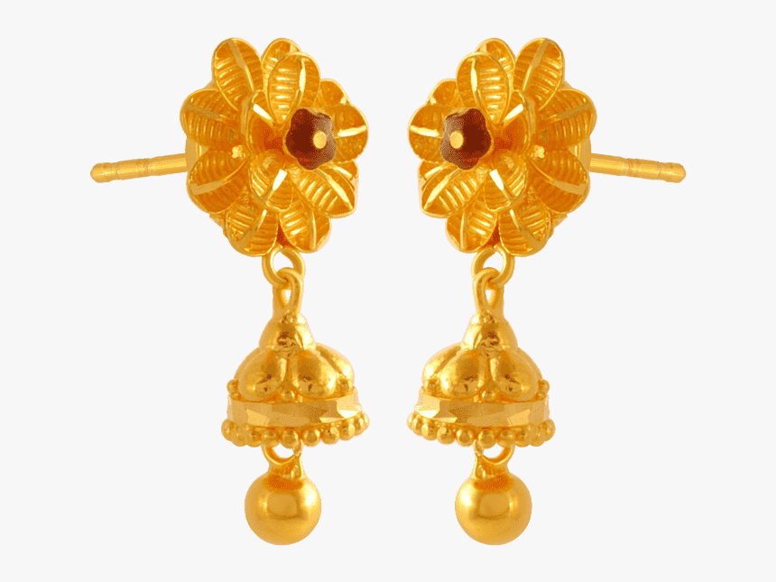 22kt Yellow Gold Jhumki Earrings For Women - Earrings, HD Png Download, Free Download