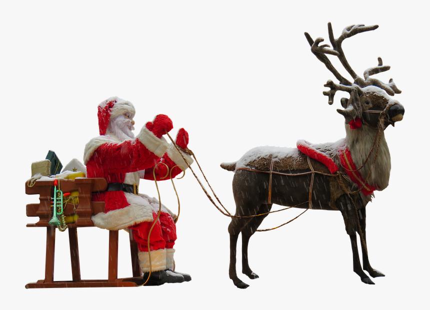 Santa Claus And Reindeer Png, Transparent Png, Free Download