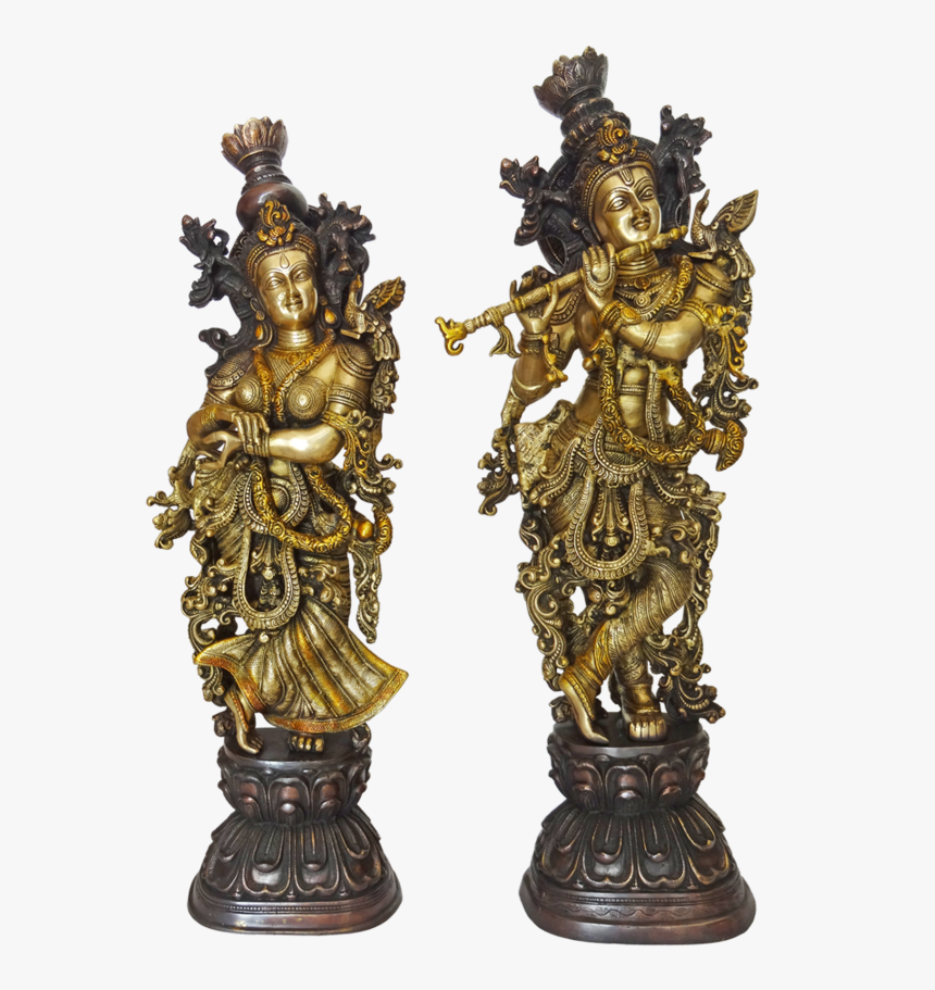 Well Designed Brass Pair Radha Krishna Playing Flute - Bronze Sculpture, HD Png Download, Free Download
