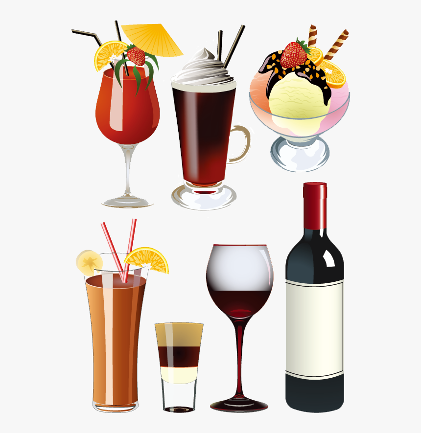 Ice Cream, Soft Drink, Cocktail, Glass Png Image With - Ice Cream Cool Drinks, Transparent Png, Free Download