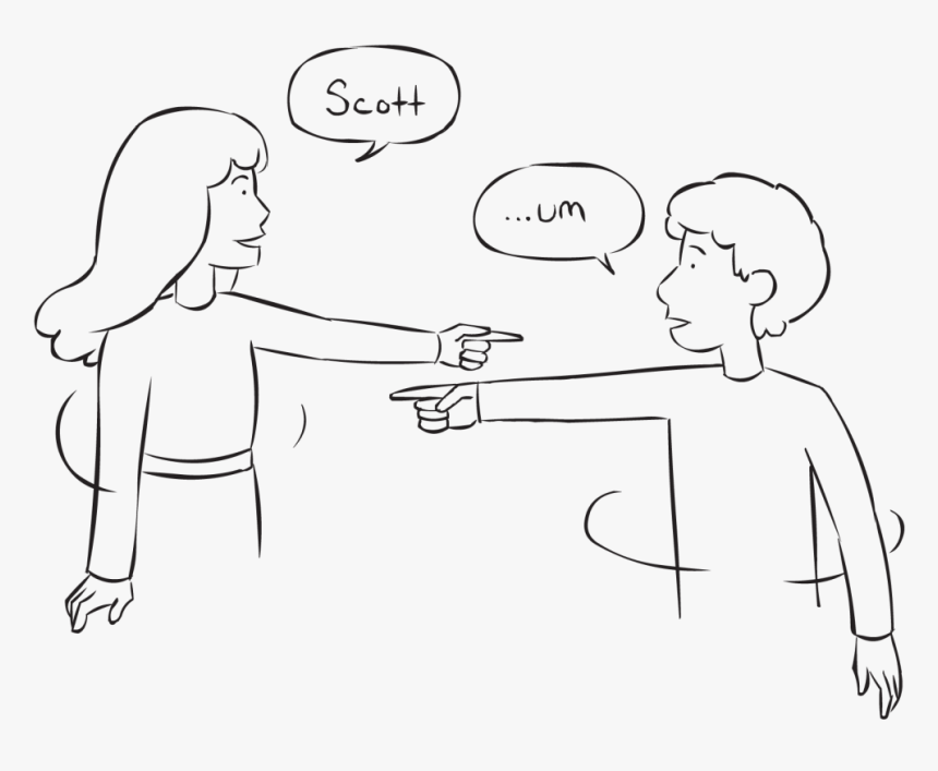 Two People Pointing To Each Other As Part Of Fast-paced - Line Art, HD Png Download, Free Download